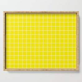 Yellow (process) - yellow color -  White Lines Grid Pattern Serving Tray