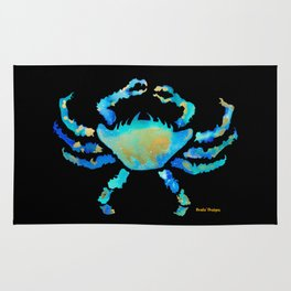 Craggy Blue Crab on Black Rug