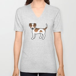 Brown And White Danish-Swedish Farmdog Cute Cartoon Illustration Unisex V-Neck