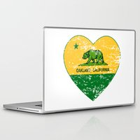 oakland Laptop & iPad Skins featuring Green and Yellow Oakland California Heart by NorCal