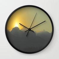 onward Wall Clocks featuring Onward to Calgary by GretchenAnn