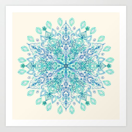 Peppermint Snowflake on Cream Art Print