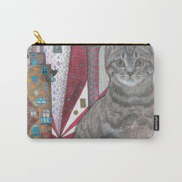 """Cat and apple tree""  Illustrated print Carry-All Pouch"