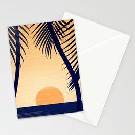Retro Golden Sunset - Tropical Scene Stationery Cards