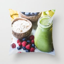 fresh smoothie with fruits, berries, oats and seed Throw Pillow
