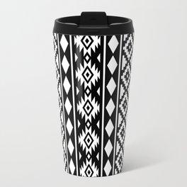Aztec Essence Ptn III White on Black Travel Mug