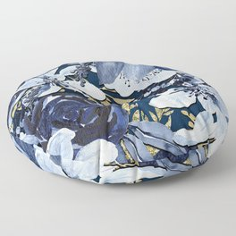 Navy Blue & Gold Watercolor Floral Floor Pillow