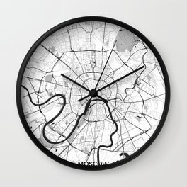 Moscow Map Gray Wall Clock