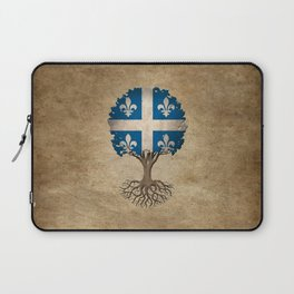 Vintage Tree of Life with Flag of Quebec Laptop Sleeve