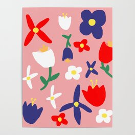 Large Handdrawn Bacchanal Floral Pop Art Print Poster