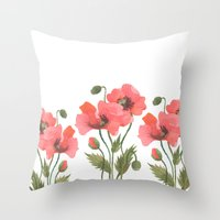 poppies Throw Pillows featuring POPPIES by Oana Befort