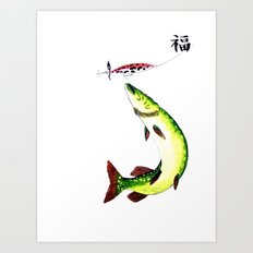 Fishermans Dream Striking Pike (Good luck Kanji ) Art Print