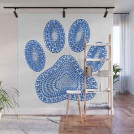 Blue Ink Dog Paw Wall Mural