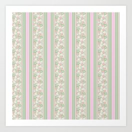 Pink Dogroses on Taupe in Stripes Art Print