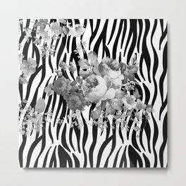 Vintage elegant black white floral zebra animal print collage Metal Print