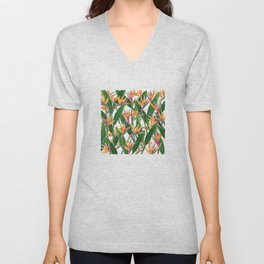 bird of paradise pattern Unisex V-Neck