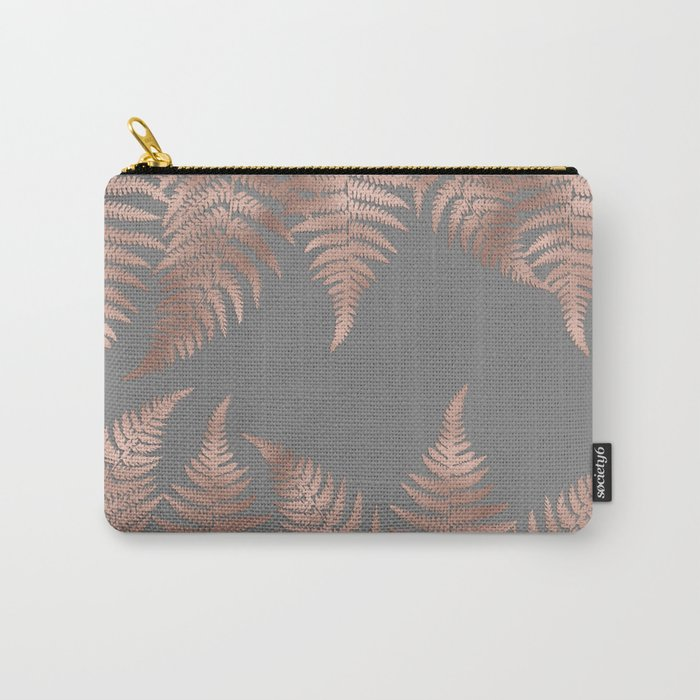 Rosegold pink metal fern leaves on grey background Carry-All Pouch