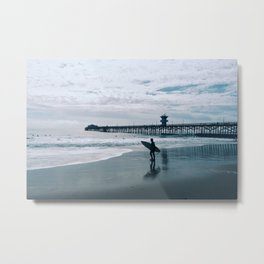 Surfer - evening surfing in SoCal Metal Print