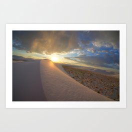 Sun setting over the dunes Art Print