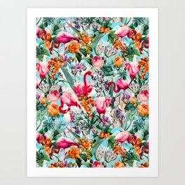 Floral and Flamingo VII pattern Art Print