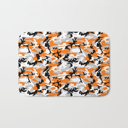 Orange Camouflage Pattern Bath Mat