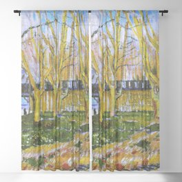 Avenue of Plane Trees near Arles Station, Vincent van Gogh Sheer Curtain