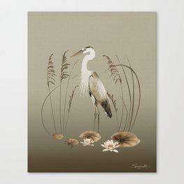 Heron and Lotus Flowers Canvas Print