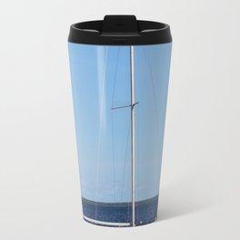 White And Blue Travel Mug