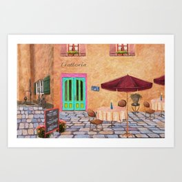 Trattoria Square – Italy – Painting by Liane Wright Art Print