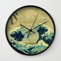 asian Wall Clocks featuring The Great Blue Embrace at Yama by Kijiermono