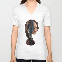 jennifer lawrence V-neck T-shirts featuring Jennifer Lawrence as Katniss Everdeen by Owen Ballesteros