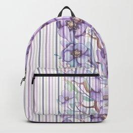 Watercolor purple lavender lilac floral stripes Backpack