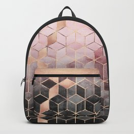 Pink And Grey Gradient Cubes Backpack