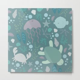 Cute Sealife Pattern Metal Print