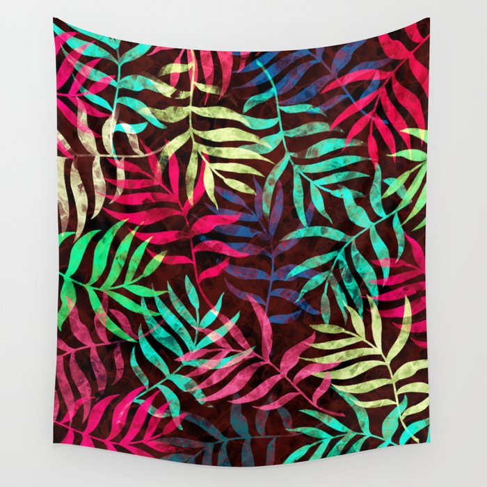 Watercolor Tropical Palm Leaves IV Wall Tapestry