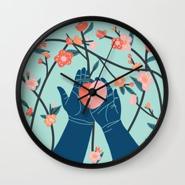Peach Blossom Wall Clock