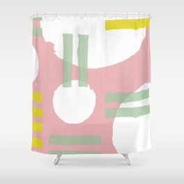 Mid-Century Modern in Pink, Mint and Mustard Pattern Shower Curtain