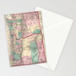 Vintage Map of Washington and Oregon (1875) Stationery Cards