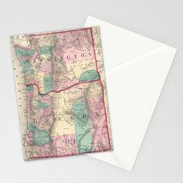 Vintage Map of Washington and Oregon (1875) Stationery Cards