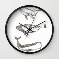 whales Wall Clocks featuring Whales by dreamshade