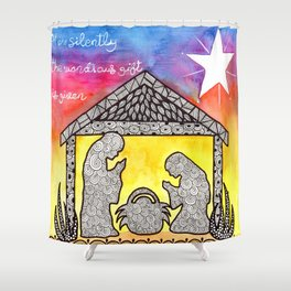 Watercolor Doodle Art | Nativity Scene Shower Curtain