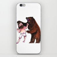 wrestling iPhone & iPod Skins featuring Bear Wrestling by Aude Lising