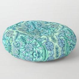 Botanical Moroccan Doodle Pattern in Mint Green, Lilac & Aqua Floor Pillow
