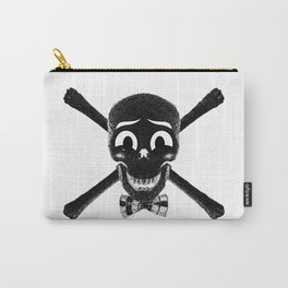 """""""Happy Skull"""" Black and White Carry-All Pouch"""