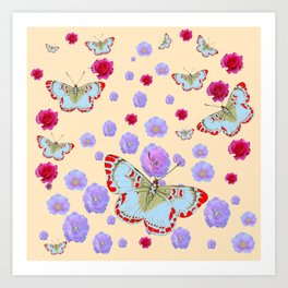 WHITE-RED BUTTERFLIES AMONG FLOATING PINK ROSES Art Print