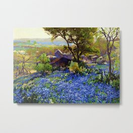 Bluebonnets at the Quarry Texas landscape desert painting by Robert Julian Onderdonk Metal Print
