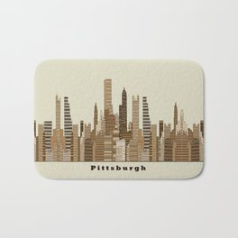 Pittsburgh skyline vintage Bath Mat