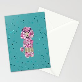 Fun Paint Splatter Poodle on Teal Stationery Cards