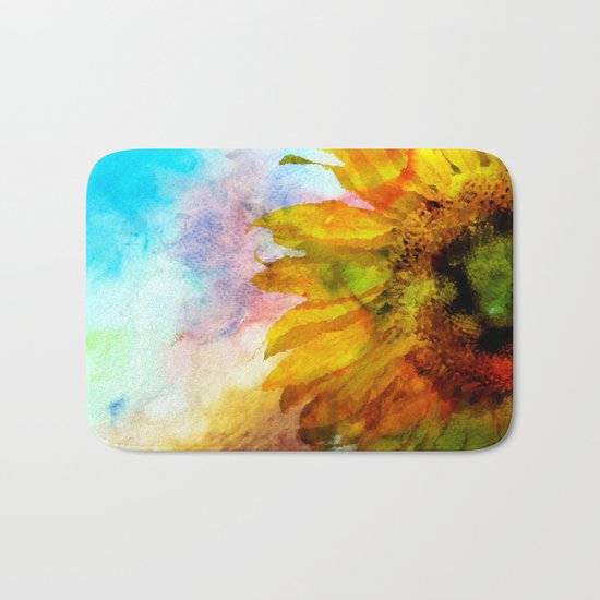 Sunflower on colorful watercolor background- Flowers on #Society6 Bath Mat