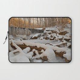 Winter Sunset Waterfall Laptop Sleeve